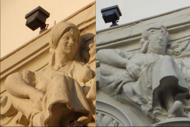 La statue visible sur une façade d'un bâtiment de Palencia (Espagne) avant et après travaux.
