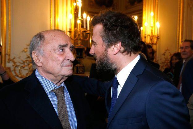 Claude Brasseur et son fils Alexandre Brasseur à l'Elysee le 13 mars 2017, à Paris, France.