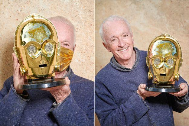 Anthony Daniels et le masque doré de C-3PO
