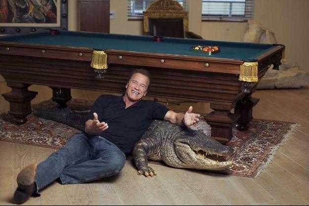 A Los Angeles, dans les bureaux qu'Arnie a fait aménager, ni chien ni chat mais un alligator empaillé.