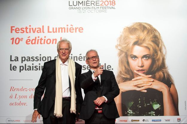 Bertrand Tavernier (à gauche), aux côtés de Thierry Frémaux lors de la soirée d'ouverture de la 10e édition du Festival Lumière.
