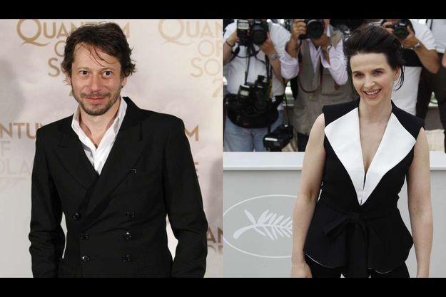 Mathieu Amalric, à gauche, et Juliette Binoche.