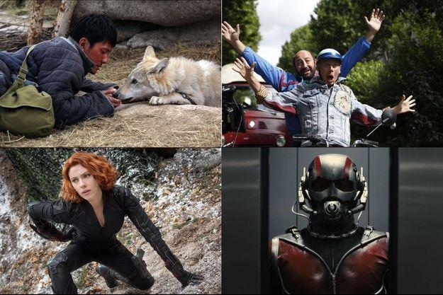"""De haut en bas, de gauche à droite, """"Le dernier loup"""", """"Avengers"""", """"Bis"""", """"Ant-Man"""""""