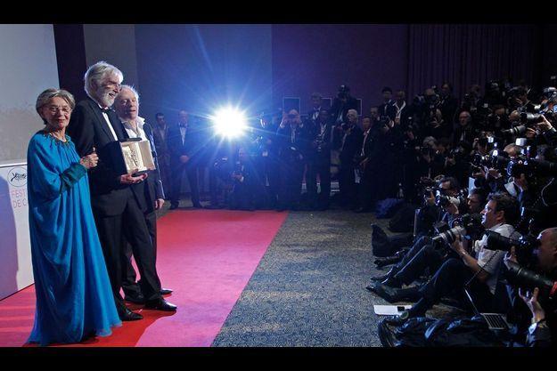 Michael Haneke entre Jean-Louis Trintignant et Emmanuelle Riva