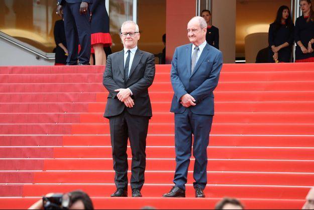 Pierre Lescure (président du Festival de Cannes) et Thierry Frémaux (délégué général du Festival de Cannes) en mai 2019