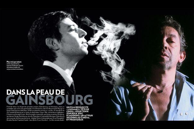 A droite, Serge Gainsbourg. A gauche, Eric Elmosnino, qui porte des prothèses d'oreilles et de nez pour accentuer la ressemblance.