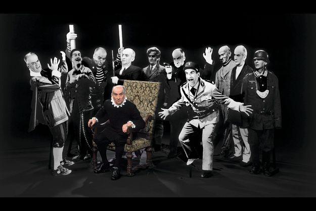 De Funès pose en Avare au milieu des personnages qu'il a incarnés.