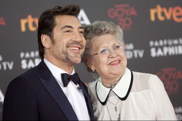 Pilar Bardem et son fils Javier, en 2016.