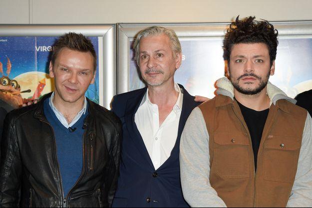 """Jeanfi Janssens, Antoon Krings et Kev Adams lors de l'avant-première du film """"Drôles de petites Bêtes"""" au cinéma MK2 Bibliothèque à Paris."""