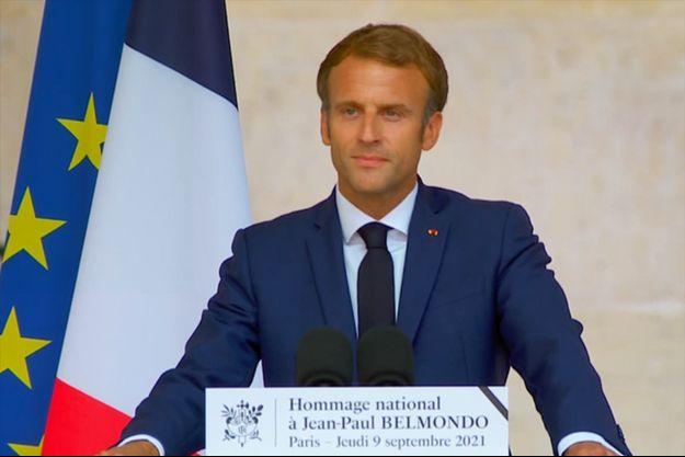 Emmanuel Macron lors de l'hommage aux Invalides le 9 septembre 2021.