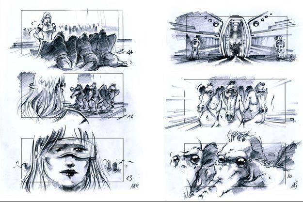 """Extraits du story-board de """"Valérian et La cité des mille planètes"""""""