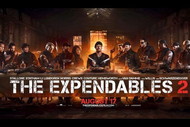 """Pour la promotion de """"The Expendables 2"""", la cène a été détournée avec Sylvester Stallone en Jésus."""