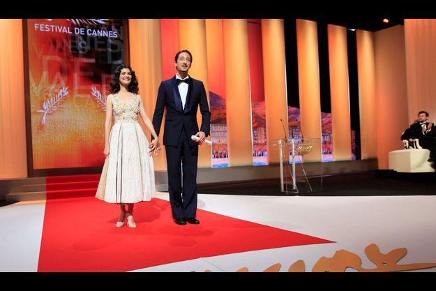 Audrey Tautou au bras d'Adrien Brody à Cannes, en 2012.