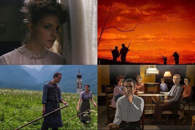 """De haut en bas, de gauche à droite, """"Sunset"""", Radegund"""", """"Bacurau"""" et """"Le Journal d'Anne Frank""""."""