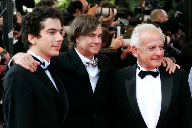 Nathanael Karmitz, Gus Van Sant et Marin Karmitz lors du Festival de Cannes 2007.