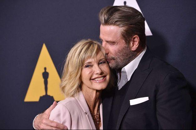 "Olivia Newton-John et John Travolta pour les 40 ans de ""Grease"", en août 2018."