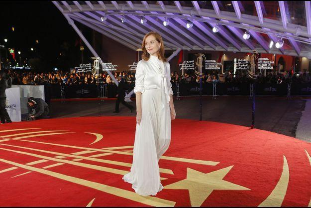 Isabelle Huppert, le 5 décembre, sur le tapis rouge du festival du film de Marrakech.