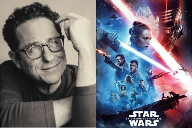 "J.J. Abrams et l'affiche de ""L'ascension de Skywalker""."