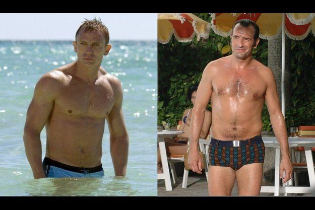 """Daniel Craig dans """"Casino Royale"""", Jean Dujardin dans """"OSS 117: Rio ne répond plus""""."""