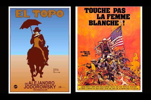 """Deux affiches réalisées par Jean Giraud pour le cinéma, celle d'""""El Topo"""" d'Alejandro Jodorowski et de """"Touche pas à la femme blanche"""" de Marco Ferreri."""