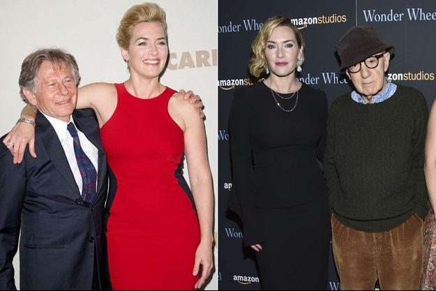 """Kate Winslet : à gauche avec Roman Polanski en 2011 pour la promotion de """"Carnage"""" ; à droite en 2017 avec Woody Allen pour """"Wonder Wheel"""""""