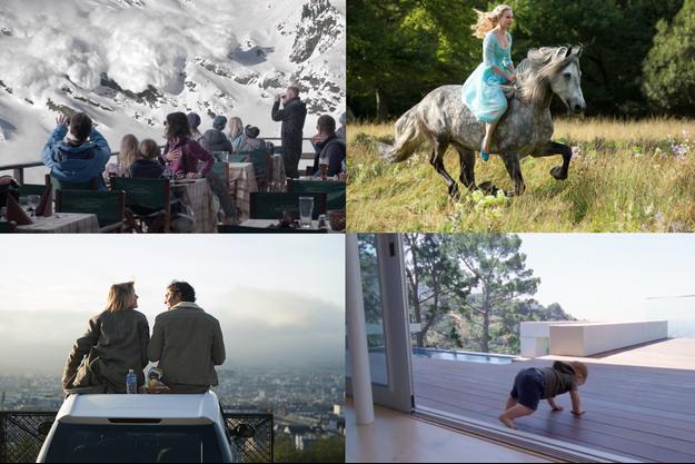 """De haut en bas, de gauche à droite: """"Snow Therapy"""", """"Toute première fois"""", """"Cendrillon"""", """"Knight of Cups"""""""