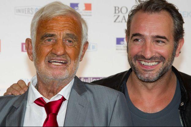 Jean-Paul Belmondo et Jean Dujardin, en 2012.