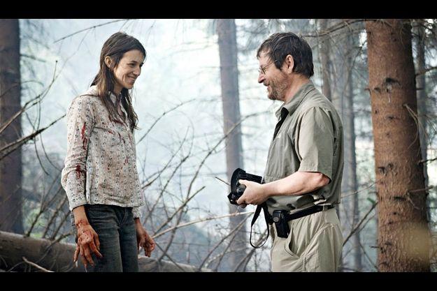 Charlotte Gainsbourg et Lars von Trier sur le tournage d'Antichrist.