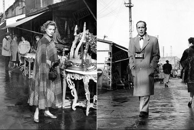 « Le Marché aux Puces, à Paris, est la promenade que le couple Bogart-Bacall préfère : Lauren pour le shopping, Humphrey pour le pittoresque. » - Paris Match n°107, 7 avril 1951