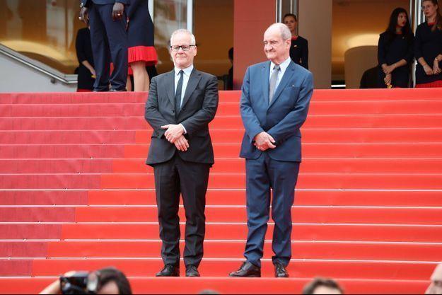 Pierre Lescure (président du Festival de Cannes) et Thierry Frémaux (délégué général du Festival de Cannes) en mai 2019.