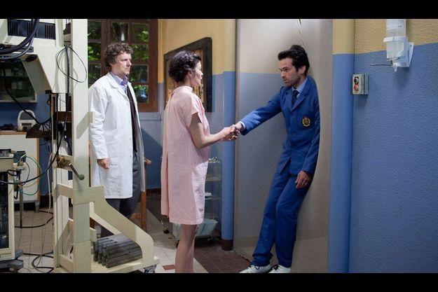 """Michel Gondry, Audrey Tautou et Romain Duris sur le tournage de """"L'Ecume des jours"""""""