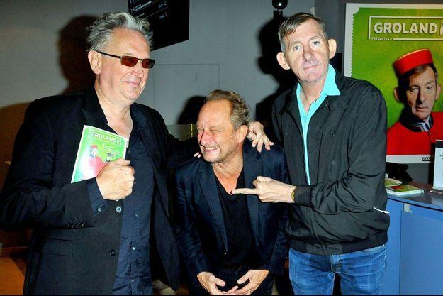 Le trio de choc de Fifigrot: Benoît Délépine, Benoit Poelvoorde et le president de Groland Christophe Salengro.