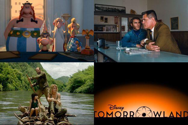"""De haut en bas et de gauche à droite: """"Astérix: le Domaine des Dieux"""", """"Inherent Vice"""", """"On a marché sur Bangkok"""" et """"Tomorrowland"""""""
