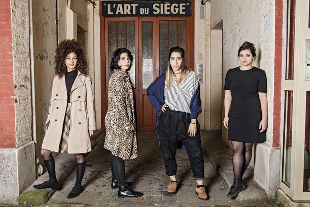 La réalisatrice (deuxième en partant de la gauche) et ses trois actrices, Mouna Hawa, Sana Jammelieh et Shaden Kanboura.