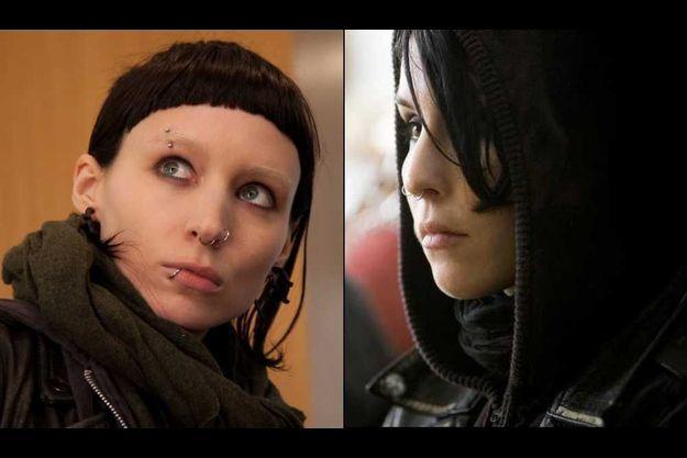 De gauche à droite: Rooney Mara et Noomi Rapace dans le rôle de Lisbeth Salander.