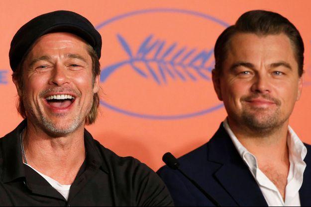 """Brad Pitt et Leonardo DiCaprio, les deux stars de """"Once Upon a Time in Hollywood"""" lors de la conférence de presse."""