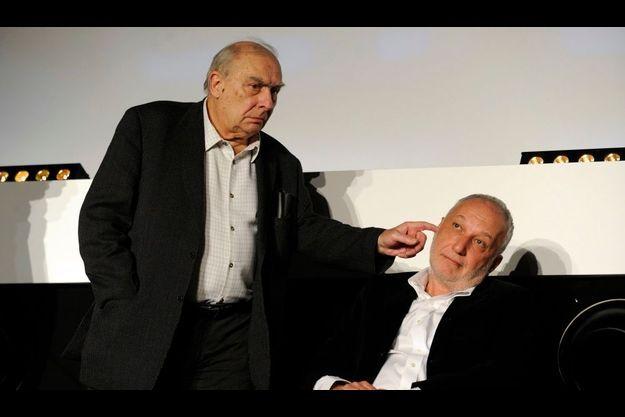 Claude Chabrol et François Berléand au festival international du film policier à Beaune, en avril 2009.