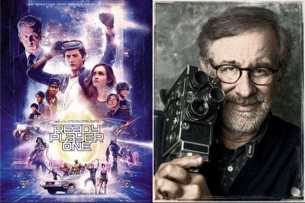 """L'affiche de """"Ready Player One"""" et Steven Spielberg"""