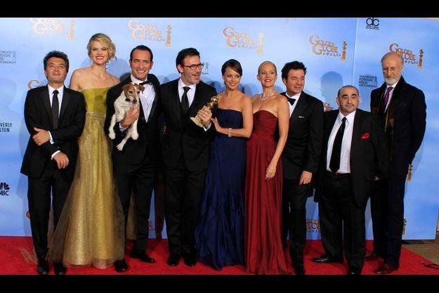 """L'équipe du film """"The Artist"""", qui a remporté trois Golden Globes."""