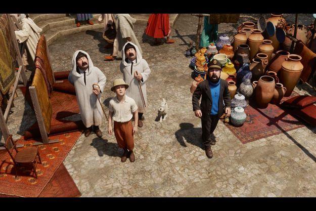 """En exclusivité, Tintin, Haddock et les Dupont(d), perdus dans le dédale d'un souk, dans « Les aventures de Tintin :le secret de la """"Licorne"""" » (sortie le 26 octobre)."""