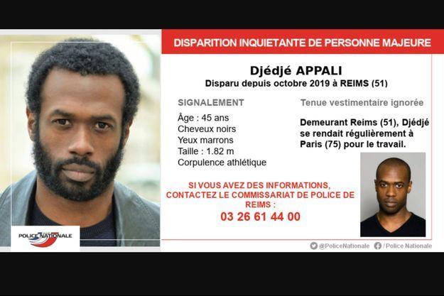 L'appel à témoins pour Djédjé Apali.
