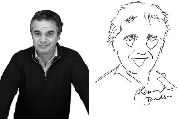 Alexandre Jardin et son autoportrait.