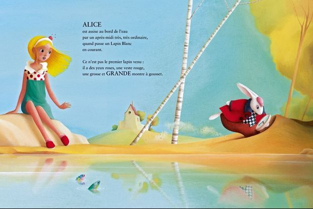 """""""Alice au pays des merveilles"""", dans le terrier du Lapin blanc, adapté de Lewis Carroll par Joe Rhatigan et Charles Nürnberg, illustrations d'Eric Puybaret, ed de La Martinière Jeunesse, 36 pages."""