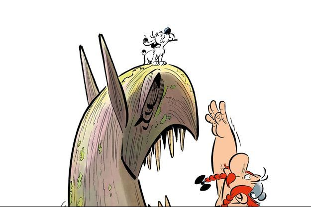 """Extrait du dessin de couverture d'""""Astérix et le Griffon""""."""