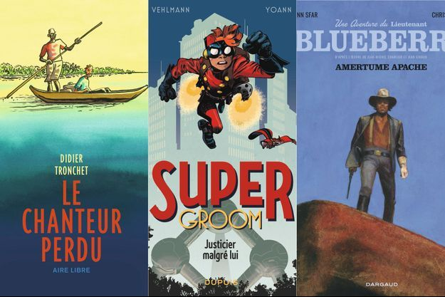 « Le chanteur perdu », de Didier Tronchet; « SuperGroom, tome I. Justicier malgré lui », de Yoann et Vehlmann; « Amertume apache. Une aventure du lieutenant Blueberry », de Joann Sfar et Christophe Blain