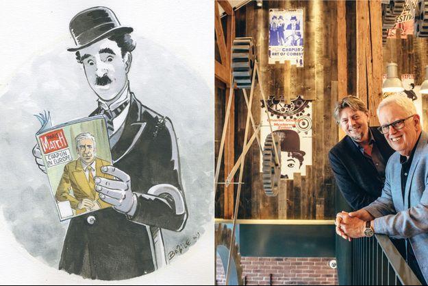 Charlot, spécialement dessiné pour nous par Benoît Bazile, tenant à la main le numéro de Paris Match du 27 septembre 1952 : « Chaplin en Europe ». A d. : Bernard Swysen et Eugène Chaplin (premier plan) à Vevey.