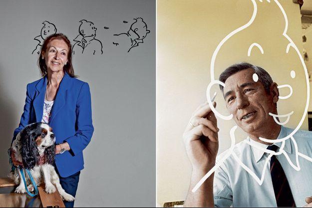 Hergé esquisse la figure ronde de Tintin. A droite: Fanny Rodwell avec son chien, Ari.