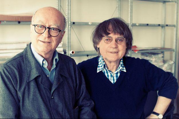 Wolinski et Cabu, dans les locaux de « Charlie Hebdo », en juin 2012.