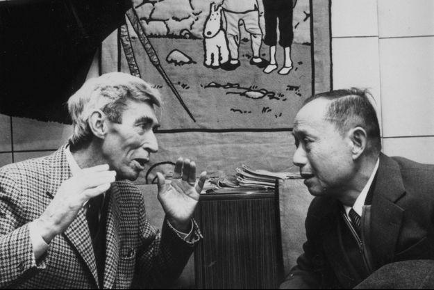 Hergé et Tchang en 1981.