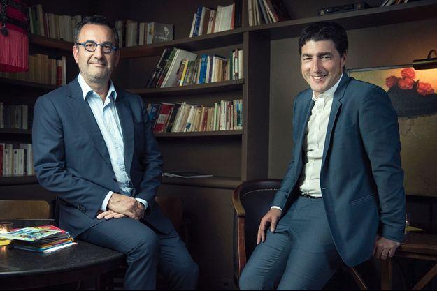 Arnaud Nourry, P-DG d'Hachette Livre et de Lagardère Publishing, avec Nawfal Trabelsi, président de McDonald's France, au restaurant Le Fumoir, à Paris.
